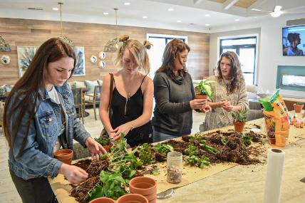 Residents potting plants