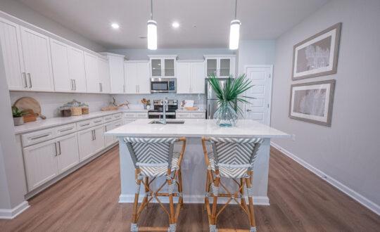 Apartment with white kitchen